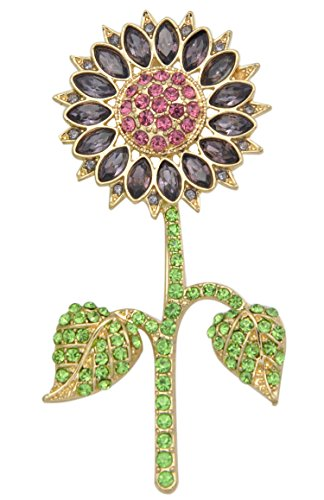 Gyn&Joy Gold Plated Purple Crystal Sunflower Brooch and Pin with Green Leaf BZ025 (Crystal Brooch Sunflower)