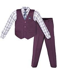 Boys 4 Piece Suit Set With Vest Shirt Tie Pants and Hankerchief