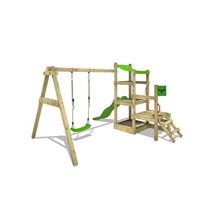41l1tEffVtL XXL Parque infantil con 2 niveles de juego, columpio, tobogán, cajón de arena y escalera para trepar Viga de columpio de 9x9cm, postes verticales de 7x7cm - Made in Germany - Calidad-y- seguridad verificadas Instrucciones de montaje detalladas para un montaje fácil - Cajón de arena integrado XXL