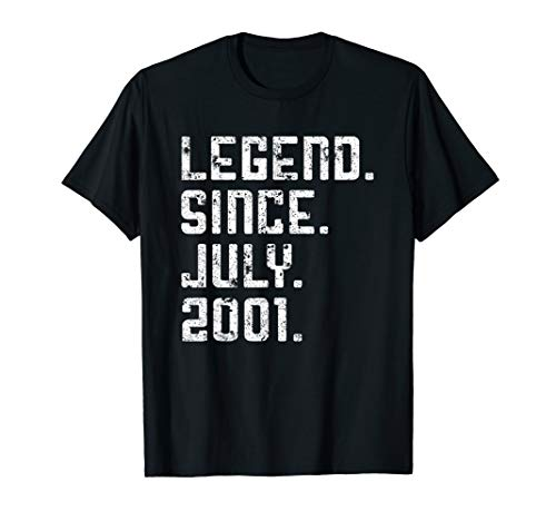 Legend Since July 2001 18th Birthday Gifts 18 Yrs Old Shirt
