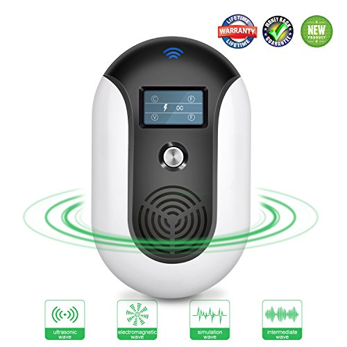 Ultrasonic Pest Repeller Electronic Pest Repellant Plug in Ultrasound Pest Control Indoor Outdoor Smart Bug Repellent for Mosquito,Flea,Rodent,Cockroach,Mouse,Squirrel, Wasp,Fly,Rat Sonic Sound