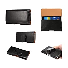 DFV mobile - Executive Holster Magnetic Leather Case Belt Clip Rotary 360º for => BLU WIN HD, W510U > Black
