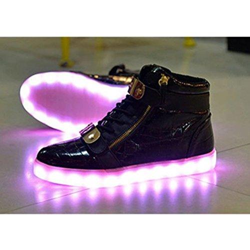 [Present:kleines Handtuch]JUNGLEST® 7 Farbe LED Leuchtend Aufladen USB Erwachsene Paare Schuhe Herbst und Winter Sport schuhe Freizeitschuhe Leucht lau Schwarz