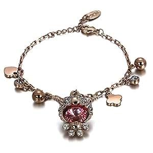 Menton Ezil 18K Gold Plated Alloy Charm Pendant Bangle Bracelet Made With Swarovski Crystal Jewelry Gift for Women Vintage Design