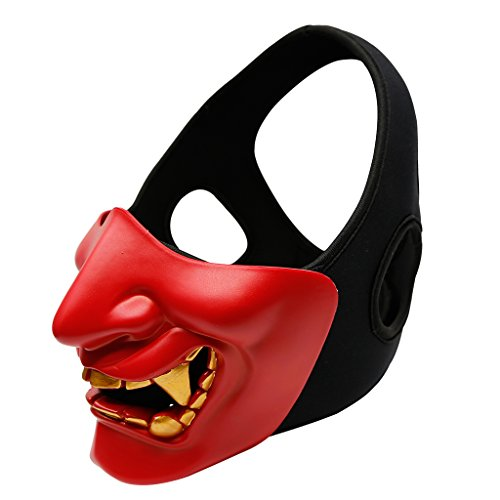 MagiDeal Skull Terror Half Face Mask Cover Paintball Sports Protection Halloween/Cosplay Party Mask Detachable & Adjustable - (Half Face Halloween Skull)