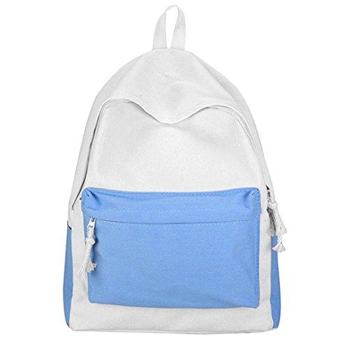 Mochila Clásica Liviana STRIR para Mujer Mochila de Viaje Mochila Escolar Escuela Repelente al Agua para Portátil de 14 Pulgadas Azul