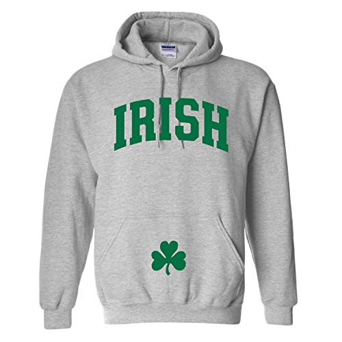 Irish Hooded Sweatshirt with Shamrock on Muff Pocket (Athletic Grey) (Medium)