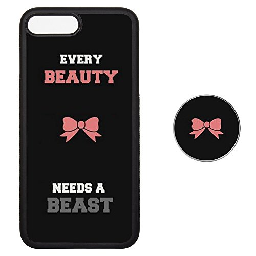 Butterfly Socket Set (Couple Case iPhone 7 8 Plus and Pop Up Grip Socket, Tire Type To Protect Your Cell Phone Shock Proof Fashion Unique Skin 7P 8P Cover - Every Beauty Needs A Beast)