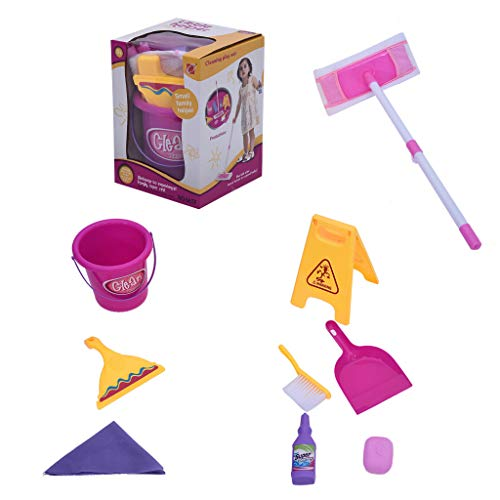 - Iusun Pretend Toy Set Kids Leaning Supplies with Mop Bucket and Accessories Education Learning Developmental Tools for Kids Girls Boys Gift Set - Ship from USA (A)