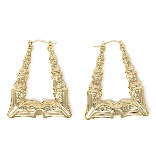 Triangle Hollow Casting Bamboo Pincatch Earrings (2 inches, Gold Tone)]()