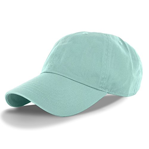 Plain 100% Cotton Hat Men Women One Size Baseball Cap (30+ Colors) Mint,One Size