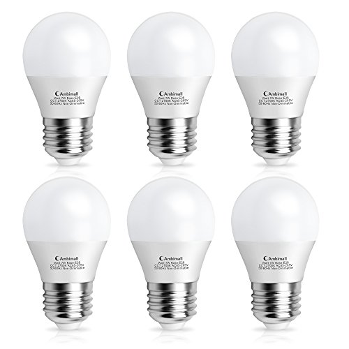 A15 Bulb LED 60Watts Equivalent, Ambimall G45 7Watt Appliance Light Bulb, Warm White 2700K 700 Lumens, LED Refrigerator Light Bulb with E26 Medium Base Non-Dimmable, Perfect for Ceiling Fan(6 Pack)