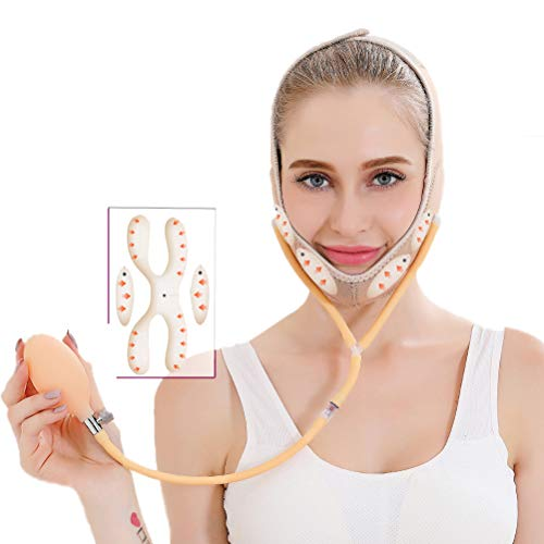 Joly Face Slimming Mask, Inflatable Face Lifting Belt, Airbag Facial Bandage Natural V Face Cheek Chin Lifting Tight Band, Face Slimming Massage Face lift Shaper Mask Beauty Care Tool (Beige)