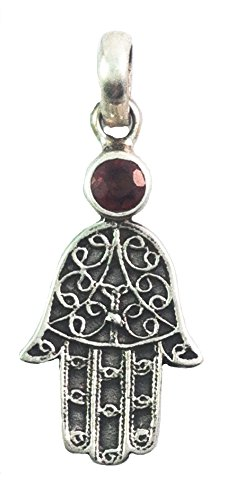 Labradorite White Pendant (Hamsa Hand Pendant with Healing Stone Sterling Silver (Labradorite))