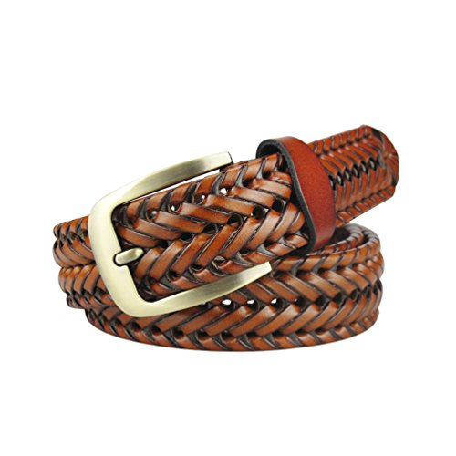 enuine Leather Brown Woven Strap & Gold Metal Buckle 45