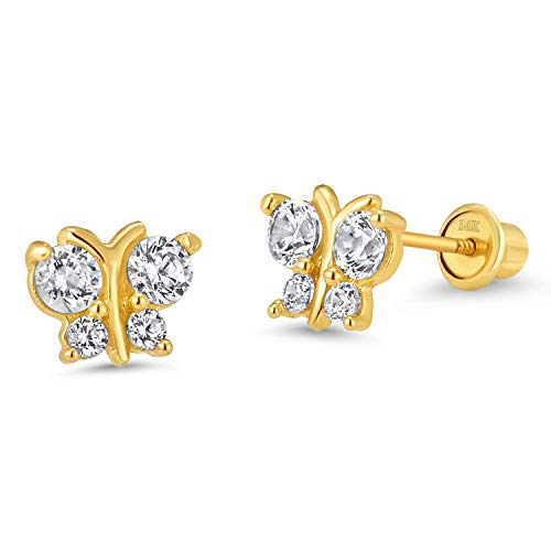 - 14k Yellow Gold White Butterfly Cubic Zirconia Children Screwback Baby Girls Earrings