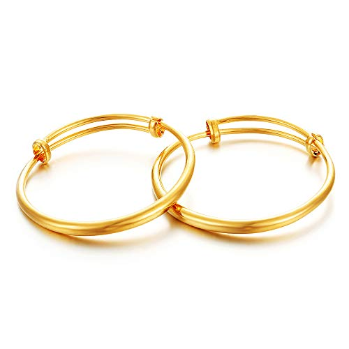 (Ethlyn 2pcs/lot 18K Gold Plated Kids Baby Expandable Adjustable Charm Bangles &Bracelets)