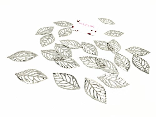 (YYaaloa 50pcs 20x35mm Leaf Charms Pendant for Crafting Jewelry Making Accessory (50pcs White))