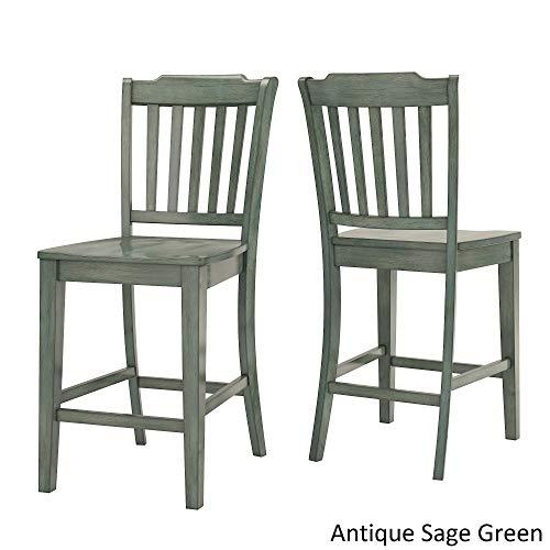 Inspire Q Eleanor Slat Back Wood 24 in. Counter Chair (Set of 2) by Classic Sage Antique, Distressed