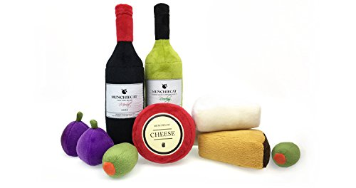 Cat Wine & Cheese Catnip Toy Set with Crinkle Paper & Bells, 9 Pc Cat Toy Assortment by munchiecat