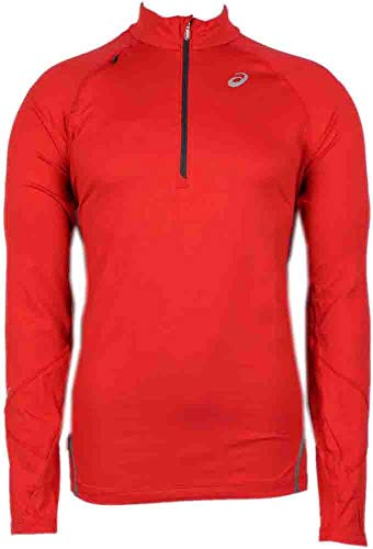 - ASICS Men's Thermopolis LT Thermal Lightweight 1/2 Zip Top, Red Heat, Small