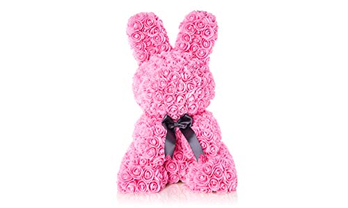 (The Forever Rose Bunny Gorgeous 14Inch Bunny Made with Handmade Roses with Elegant Ribbon, Fancy Gift (Pink))