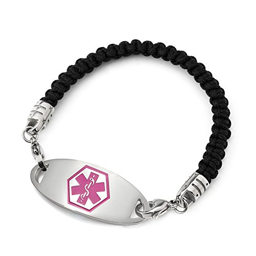 BBX JEWELRY Medical ID Alert Bracelets with Pink Stainless Steel Med ID Tag for Women Men Free Engraving