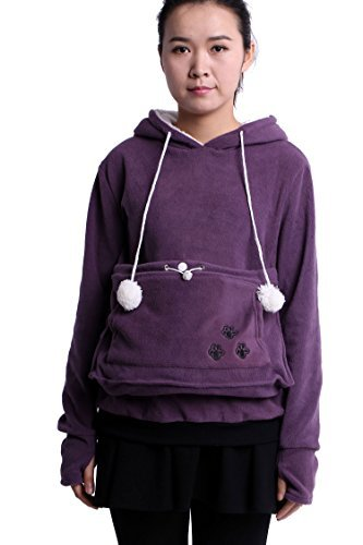 Fleece Hoodies Pet Holder Cat Dog Kangaroo Pouch Carriers Pullover Purple XXL
