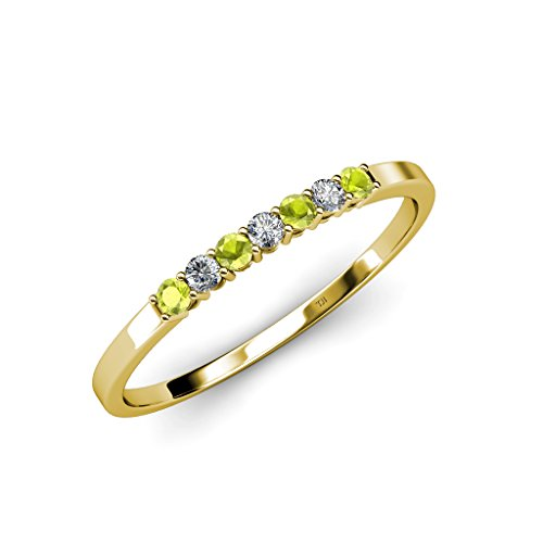 TriJewels Round Peridot and Lab Grown Diamond 7 Stone Womens Wedding Band Stackable with Side Gallery Work 0.27 ctw 14K Yellow Gold.size 7.75 (14k Ring Gallery)