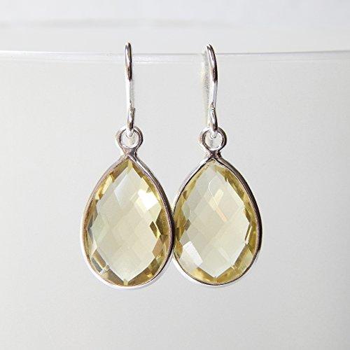 Lemon Quartz Drop Earrings in Sterling - Lemon Drop Quartz