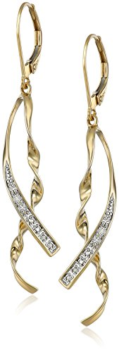 10k Yellow Gold Ribbon Diamond-Accent (Gold Ribbon Earrings)