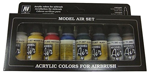 Vallejo Model Air Basic Colors Acrylic Paint Set for Air Brush - Assorted Colours (Pack of 8) Acrylicos Vallejo Acylicos Vallejo VJ71176
