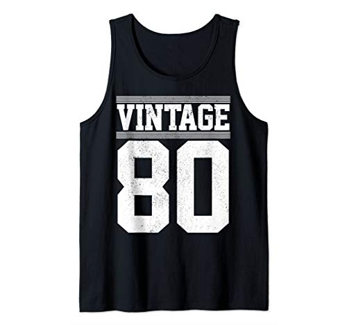 40th Birthday Gift Vintage 1980 Retro Jersey Number 40 Years Tank Top