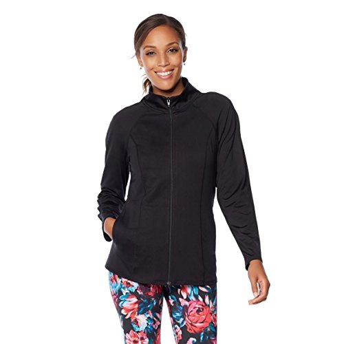 Lightweight Knit Activewear Zip (TREU Activewear Zip-Front Jacket Pockets Stretch Knit Long Black 3X New 534-681)