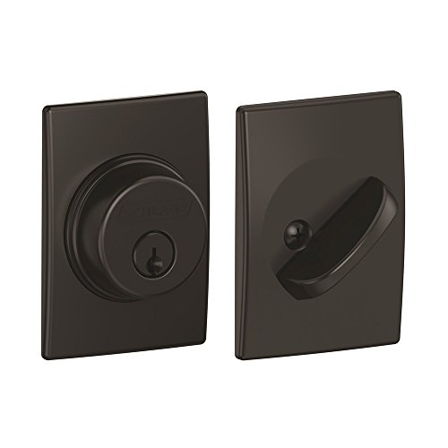 Company Single - Schlage Lock Company Single Cylinder Deadbolt with Century Trim, Matte Black (B60 N CEN 622)