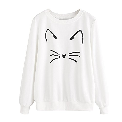 Chat Tops Oreille Blanc Venmo Sweatshirt Femme Jersey Blouse Par Imprimé H4fwSP