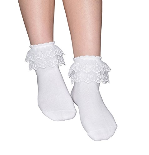 (Women's Solid Color Lace Ruffle Frilly Socks, Comfortable Cotton Ankle Lace Socks, Princess Socks, B013 (White-3 Pairs))