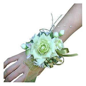 Arlai Bridal Wrist Corsage Wedding Party Artificial Flower Bridesmaid Brooch Wedding Bouquet Decoration Pack of 1 Light Green 19