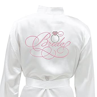 Satin Bridal Robe with Ring - White and Pink (L XL) at Amazon ... 6c084f31e