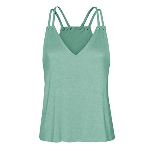 Sexyville Dbardeur Femme t Chic Col-V Chemisier Loose Top Tee-Shirt Camisole Menthe Verte