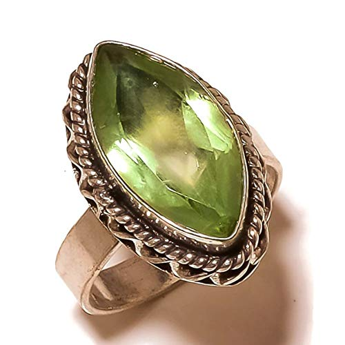 (Jewels House Green Amethyst Marquise Gemstone Silver Plated Handmade Statement Oxidized Ring US-9)