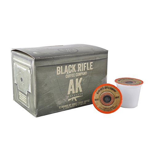 Black Rifle Coffee Company AK-47 Coffee Rounds for Single Serve Brewing Machines (12 Count) Medium Roast Coffee Pods Cups