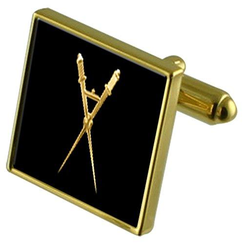 Maître de cérémonie maçonnique de manchette Carré d'or dans la valise diplomatique
