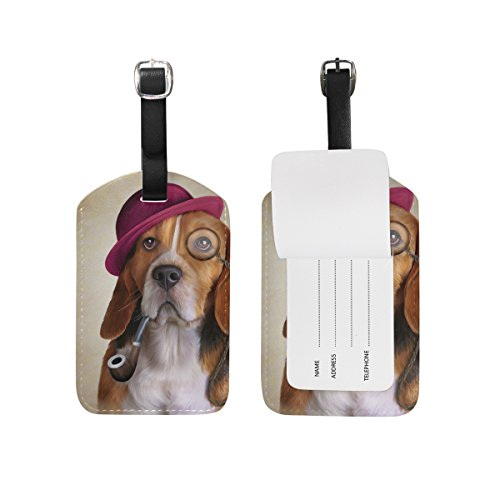 My Daily Funny Beagle Dog Luggage Tag PU Leather Bag Tag Travel Suitcases ID Identifier Baggage Label Beagle Luggage Tag