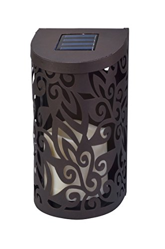Moonrays 91833 Solar Powered Wall Sconce with Flickering Candle, Bronze