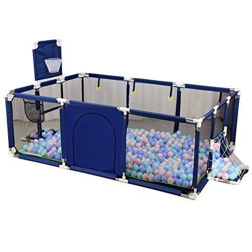 Baby Playpen Indoor Play Yard Household Game Fence with Crawling Mat and Balls, Height 66cm, Size Optional (Color : Blue, Size : 190×129×66cm) ()