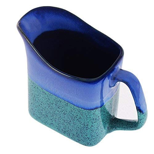 storeindya Ceramic Mug Pottery Jug Small Creamer Water Milk Tea Coffee Mug Glazed Studio (Blue Green)