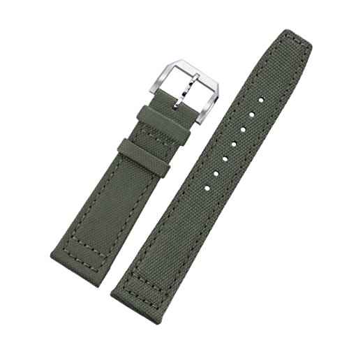 20mm Men's Military Green Ballistic Nylon Premium Quality Watch Straps Replacements Two Pieces (Dior Buckle)