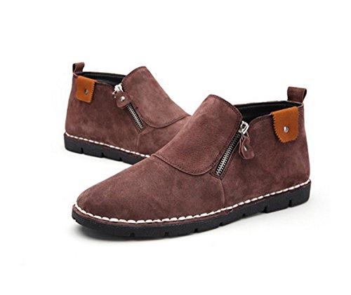 WZG Nueva caída de con la ayuda de los zapatos ocasionales de los hombres de cuero de los zapatos hechos a mano British cremallera lateral de un pedal de los zapatos planos wine red