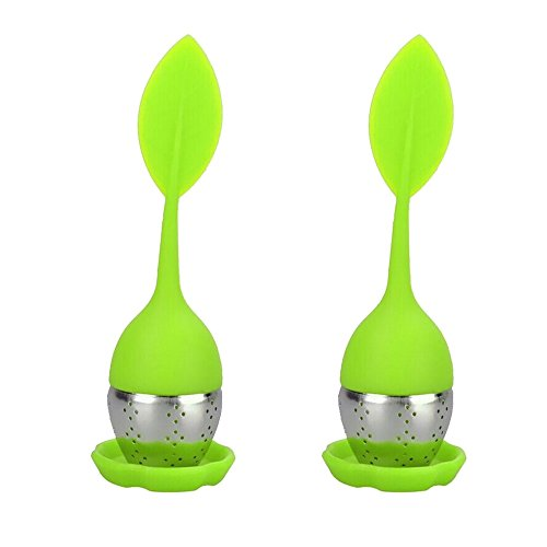 Zicome Silicone Tea Infuser with Drip Tray, Set of 2, Green